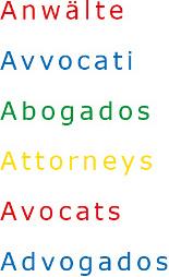Anwalt Avvocato Abogado Attorney Avocat Advogado Zürich portugiesisch spanisch italienisch englisch französisch deutsch